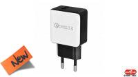 Transformador 100-240V Qualcomm 3.0 Carga Rápida USB negro