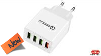 Transformador 100- 240V QC3.0 Quick Charge 4 x USB Blanco