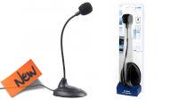 """Microfone com base jack 3.5"""" sensível e flexível preto"""