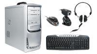 Kit caixa ATX 500W inclui teclado espanhol, rato, auscultadores e webcam 100 Kpixel